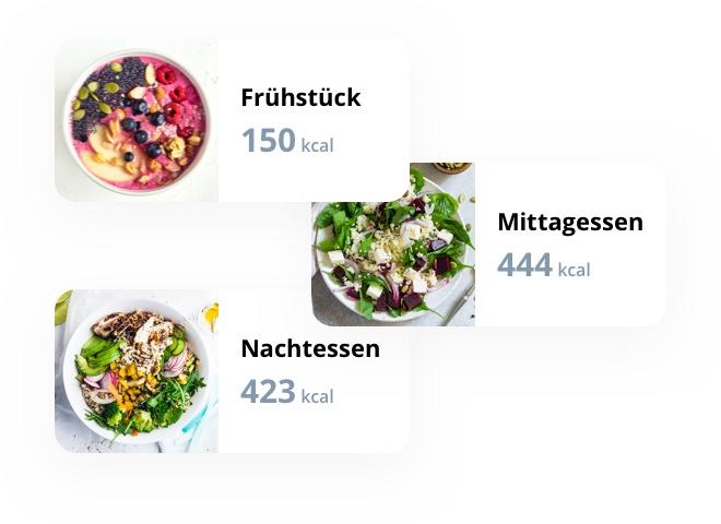 Ein Menüplan, bei dem Sie sehen können, wie viele Kalorien Ihr Frühstück, Mittagessen und Nachtessen hat