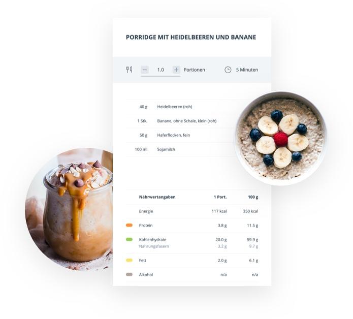 Ein Rezept mit Zubereitungshilfe und Bild vom fertigen Essen